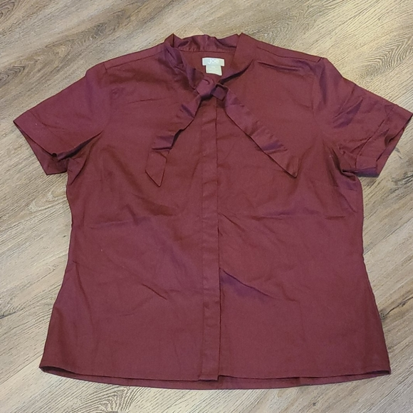 Joe Fresh Burgundy Short Sleeved Blouse Sz. L